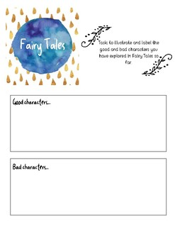 Fairy Tales - character focus printable template