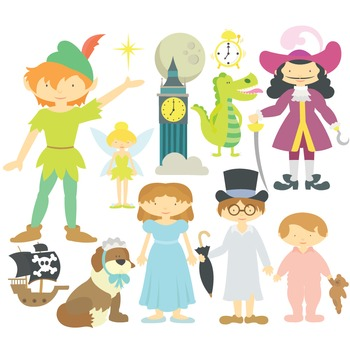 Fairy Talle Peter Pan Digital Clipart & Vector Set - Instant Download