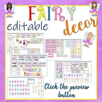 Fairy Theme Classroom Decor EDITABLE
