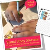 Fairy Writing Prompt Worksheets with Pictures (dashed lines)