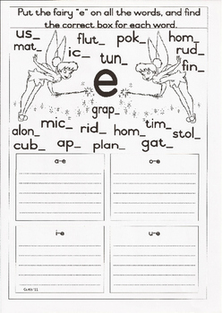 "Fairy ""e"" or Magic ""e"" Worksheet"