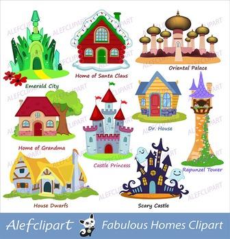 Fairy house  clipart,homes fairytale, fairytale castle,ligital clipart.