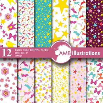 Digital Papers - Fairy digital paper and backgrounds, Faries, AMB-510