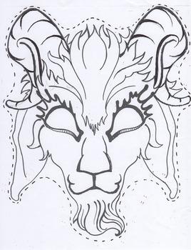 Fairytale Billy Goat Gruff masks - Black line masters