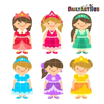 Fairytale Girls Clip Art - Great for Art Class Projects!