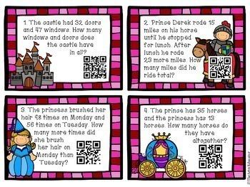 Fairytale Math Task Cards w/QR Codes