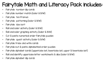 Fairytale Math and Literacy and Dramatic Play Center Bundle
