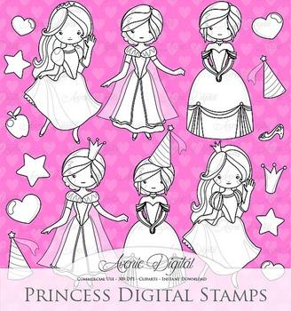 Fairytale Princess Digital Stamps printable line art digital coloring page