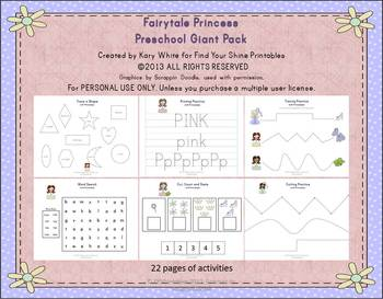 Fairytale Princess Preschool Pack, Giant set 22 pages
