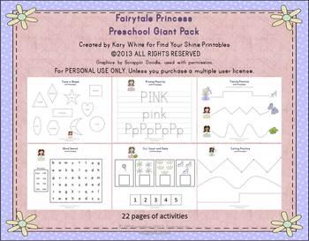 Fairytale Princess Preschool Pack, Giant set 22 pages