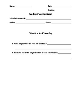 Fairytale Reading Response Worksheets