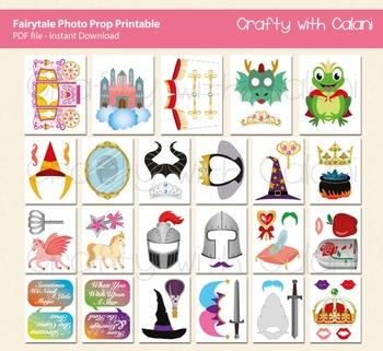 Fairytale Themed Party Photo Booth Prop - 46 ready to print images