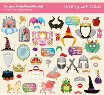 Fairytale Themed Party Photo Booth Prop - 46 ready to prin