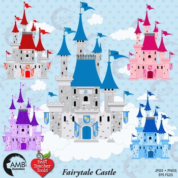 Fairytale Castle Clipart, Princess Clipart, Vector Graphics, AMB-992
