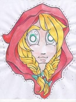 Fairytale masks - Little red riding hood color and black line masks