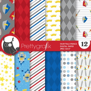 Fairytale prince digital paper, commercial use, scrapbook papers - PS677