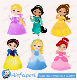 Fairytale princesses clipart