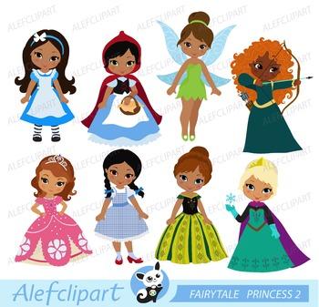 Fairytale princesses clipart 4 ( multicultural skin tones )