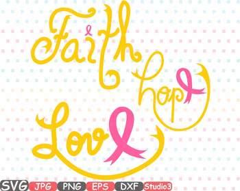 Faith Hope Love Gold Cancer Ribbons clipart monogram Studio3 Cricut -519as