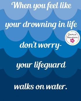 Faith Poster: My Lifeguard Walks on Water