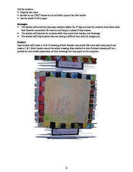 Faith Ringgold Color Pencil Drawing and Fabric Border