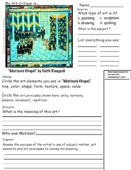 Faith Ringgold - Multi-Media Artist, Quilting Project and Critiques (8 pages)