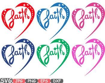 Faith Silhouette SVG clipart Christian Religious Inspire Love Heart blessed 660S