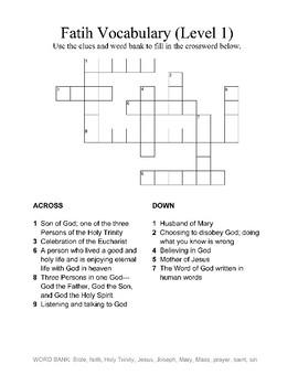Faith Vocabulary Crossword - Level 1
