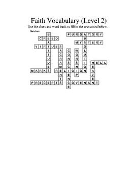 Faith Vocabulary Crossword - Level 2