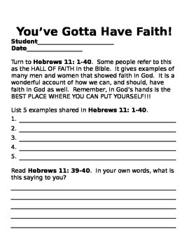 Faith and Miracles Activity Packet