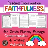 Faithfulness Fluency Passage & Comprehension Activities {Grade 6}