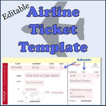 Airline plane tickets template by spanishplans tpt for Pretend plane ticket template