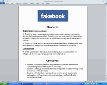 Fake Facebook Activity Standards/ Objectives- Free