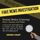 Fake News Investigation | Media Literacy - Lesson and Game