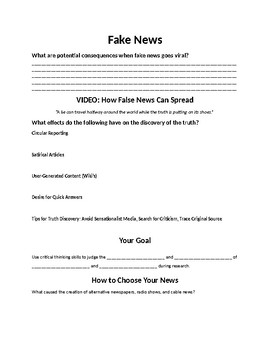 Fake News Worksheet