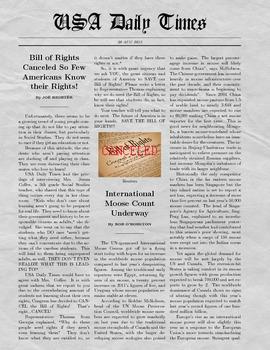 Fake Newspaper - Bill of Rights Canceled! GA GPS DOE Unit Writing Activity