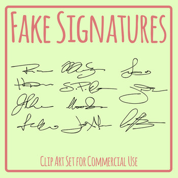 Fake Signatures Clip Art Set for Commercial Use