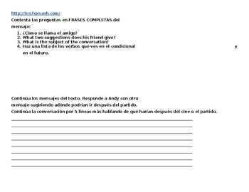 Spanish Fake Text Reading Activity--Future and Conditional
