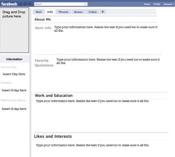 Fakebook worksheet