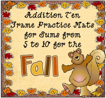 Fall Leaf Ten Frame with Vertical and Horizontal Addition
