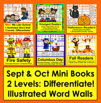 September & October Mini Books {VALUE BUNDLE} - 6 Sets - 2 Levels