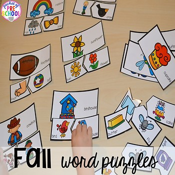 Fall Math and Literacy Centers for Preschool, Pre-K, and Kindergarten