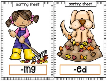 Fall Activities: Inflectional Endings Word Sort