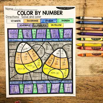 Fall 2-Digit Addition and Subtraction Color by Number No Prep Printables