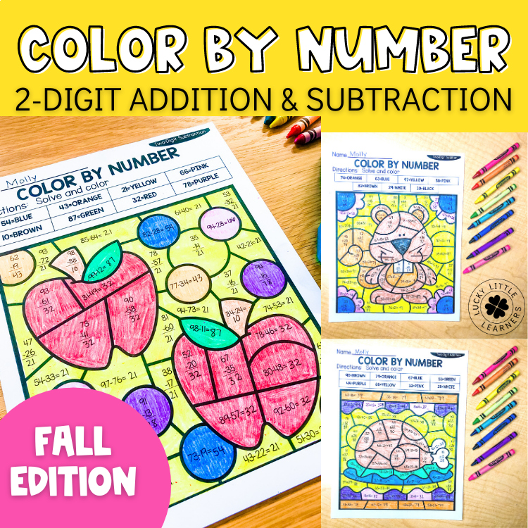 fall 2 digit addition and subtraction color by number no prep printables. Black Bedroom Furniture Sets. Home Design Ideas