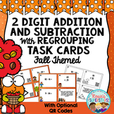 Fall 2 Digit Addition and Subtraction with Regrouping Task Cards with QR Codes