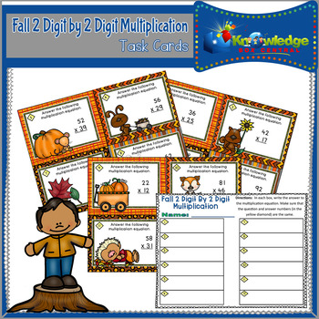 Fall 2 Digit By 2 Digit Multiplication Task Cards With Response Sheet
