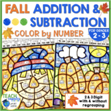 Fall 2-Digit and 3-Digit Addition and Subtraction Color by Number