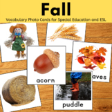 Fall Vocabulary Cards for Speech Therapy and ESL