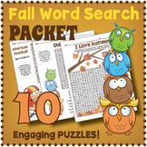 Fall Vocabulary Worksheets - Autumn Word Search Puzzle PACKET